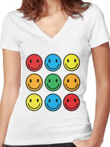 many happy faces Women's Fitted V-Neck T-Shirt