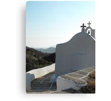 Santorini ocean: Greek Islands Church Canvas Print