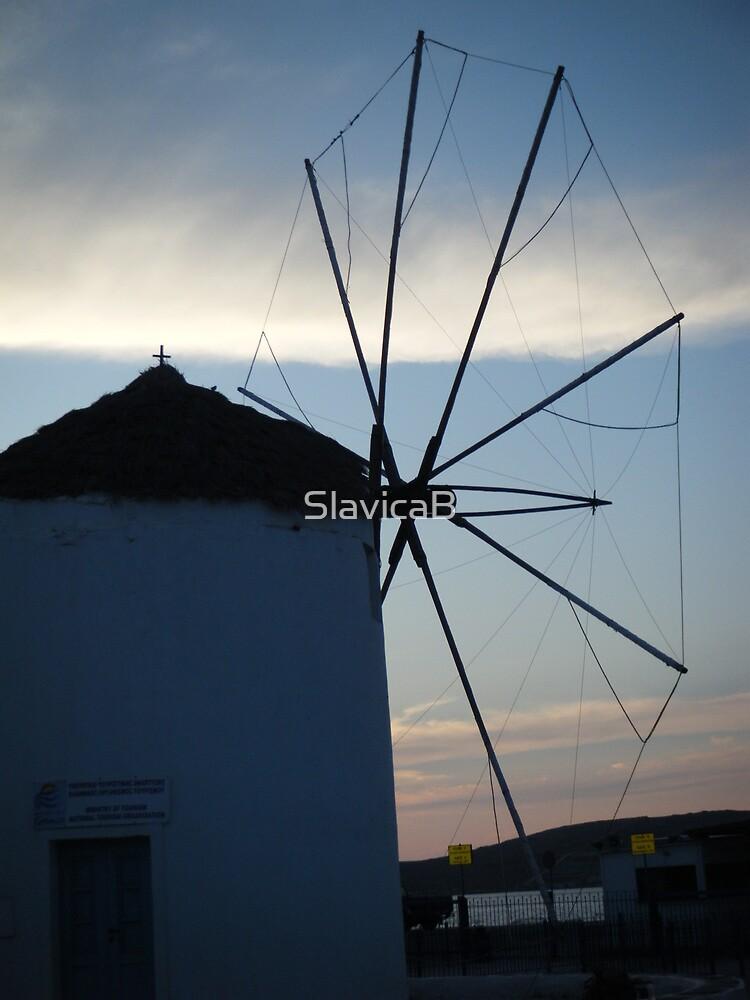 Santorini ocean: Greek Islands windmill by SlavicaB