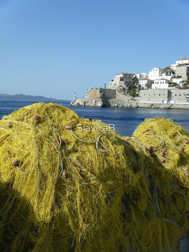 Greece: Hydra fishing nets by SlavicaB