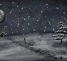 peaceful snowy night chalkboard scene by Dawna Morton