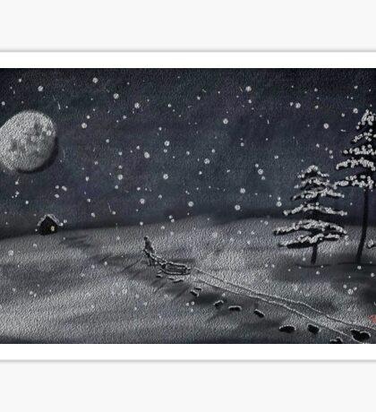 peaceful snowy night chalkboard scene Sticker