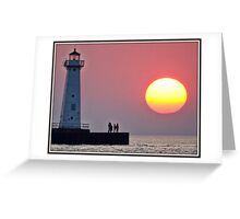 August Sunset at the Light Greeting Card