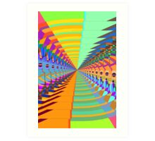 Abstract / Psychedelic Tunnel of Colorful Shapes Art Print