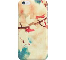 Pink leafs on textured sky iPhone Case/Skin