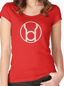 Red Lantern Insignia (White) Women's Fitted Scoop T-Shirt