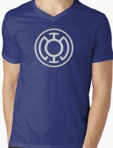 Blue Lantern Insignia (White) Mens V-Neck T-Shirt