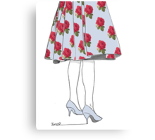 she waited in powder blue and roses Canvas Print