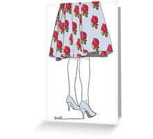she waited in powder blue and roses Greeting Card