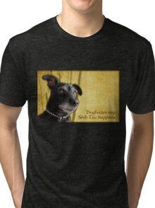 Dogfucius say: Shih Tzu happens. Tri-blend T-Shirt