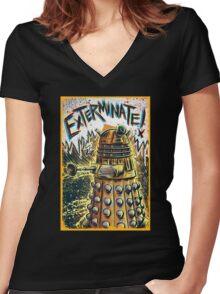 Dalek Dr Who art the Doctor Who BBC davros tardis the doctor david tennant exterminate matt smith british gridlock stolen earth sci fi christmas joe badon Women's Fitted V-Neck T-Shirt