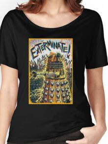 Dalek Dr Who art the Doctor Who BBC davros tardis the doctor david tennant exterminate matt smith british gridlock stolen earth sci fi christmas joe badon Women's Relaxed Fit T-Shirt