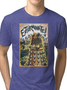 Dalek Dr Who art the Doctor Who BBC davros tardis the doctor david tennant exterminate matt smith british gridlock stolen earth sci fi christmas joe badon Tri-blend T-Shirt