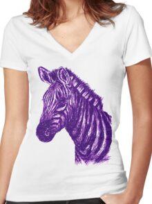 Zebra Sketch Purple Women's Fitted V-Neck T-Shirt