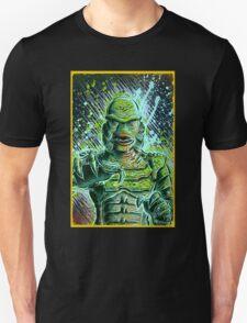 Creature from the black lagoon art print halloween monster movie horror sci fi halloween christmas lake universal monsters film black and white joe badon T-Shirt
