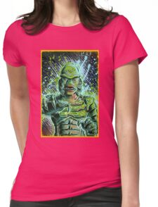 Creature from the black lagoon art print halloween monster movie horror sci fi halloween christmas lake universal monsters film black and white joe badon Womens Fitted T-Shirt