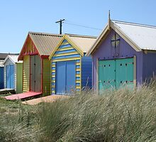 Painted Boat Sheds - Aspendale by Robyn Williams