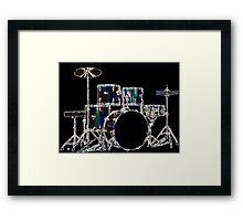 Drum Set 2 Neon Framed Print