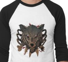Savage Wolf (White) Men's Baseball ¾ T-Shirt