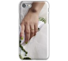 Hands with wedding rings and fower bouquet iPhone Case/Skin