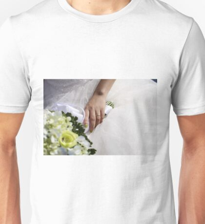 Hands with wedding rings and fower bouquet Unisex T-Shirt