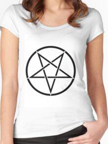 PENTAGRAM BLACK ON WHITE Women's Fitted Scoop T-Shirt