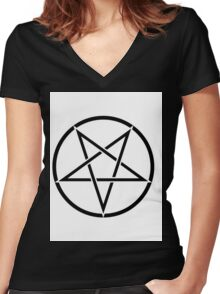 PENTAGRAM BLACK ON WHITE Women's Fitted V-Neck T-Shirt