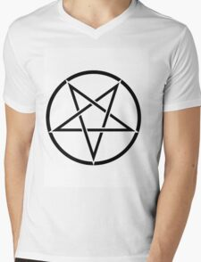 PENTAGRAM BLACK ON WHITE Mens V-Neck T-Shirt