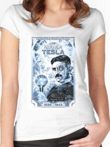 Inventor Nikola Tesla. Thomas Edison. Electricity Women's Fitted Scoop T-Shirt