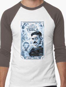 Inventor Nikola Tesla. Thomas Edison. Electricity Men's Baseball ¾ T-Shirt