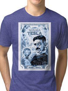 Inventor Nikola Tesla. Thomas Edison. Electricity Tri-blend T-Shirt