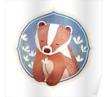 Badger and his snow drop flowers Poster