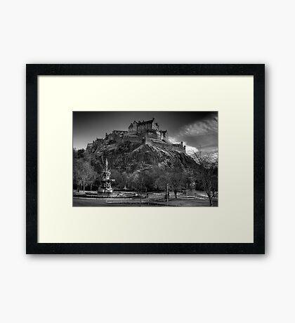 Edinburgh Castle Mono Framed Print