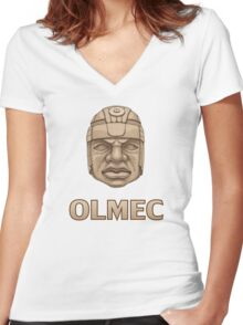 Olmec Head Women's Fitted V-Neck T-Shirt
