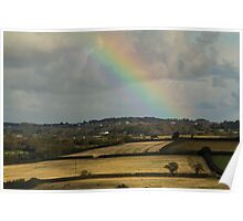 Rainbow Over Fields Poster