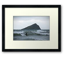 Surfer and Great Mew Stone island, Wembury, near Plymouth, Devon, UK Framed Print