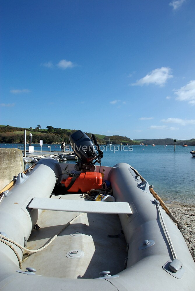 Dinghy boat moored in harbour, Salcombe, Devon, UK by silverportpics