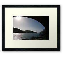 View through arch across Salcombe estuary, Devon, UK Framed Print