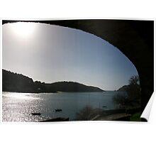 View through arch across Salcombe estuary, Devon, UK Poster