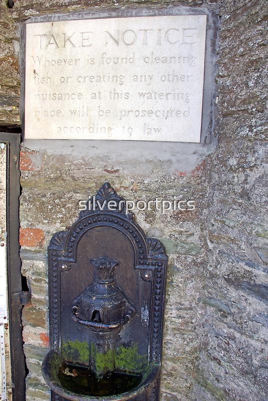 Water supply notice, Salcombe quay, Devon, UK by silverportpics