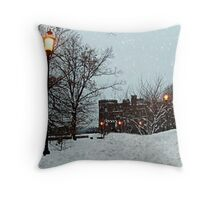 Rear view - Lambert Castle In the Snow Throw Pillow