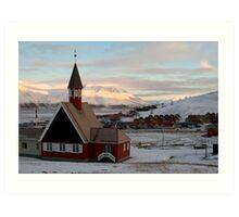 Svalbard Church in Sunset Art Print