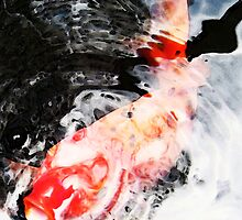 Asian Koi Fish - Black White And Red by Sharon Cummings