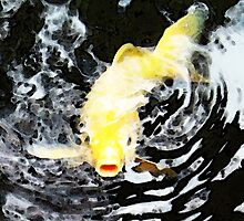 Yellow Koi - Black And White Art by Sharon Cummings