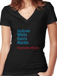 Surname Blues - Jackson, White, Harris, Martin Women's Fitted V-Neck T-Shirt