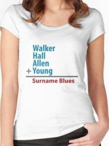 Surname Blues - Walker, Hall, Allen, Young Women's Fitted Scoop T-Shirt