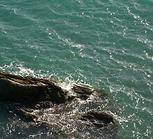 Waves and rock, Salcombe, Devon, UK by silverportpics
