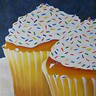 Yellow Cupcakes With Rainbow Sprinkles by Pamela Burger