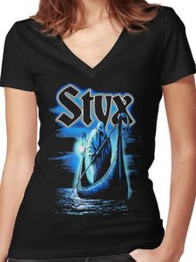 styx ferryman BAND TOUR Def01 Women's Fitted V-Neck T-Shirt