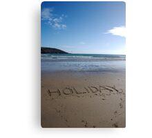 Holiday word in sand on beach, Salcombe, Devon, United Kingdom Canvas Print